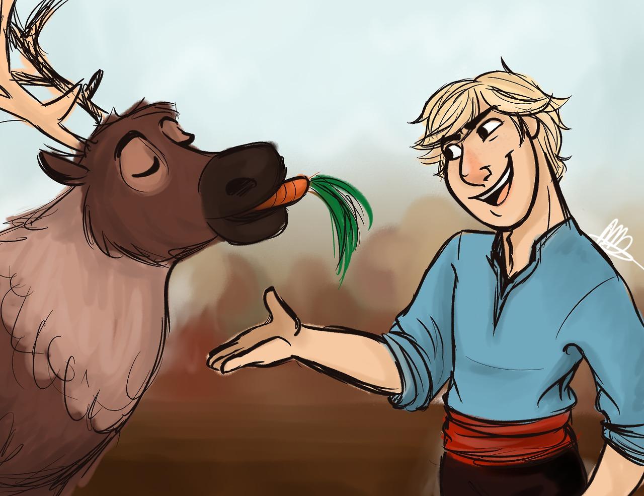 Drawing Of From Frozen Kristoff And Sven: Frozen Fan Art (35931205)
