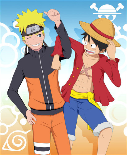 One Piece achtergrond containing anime entitled Luffy and Naruto