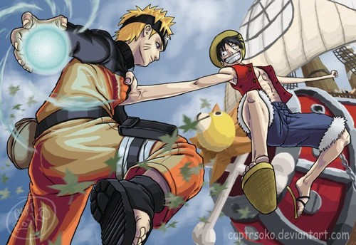 One Piece wallpaper possibly containing anime entitled Luffy and Naruto