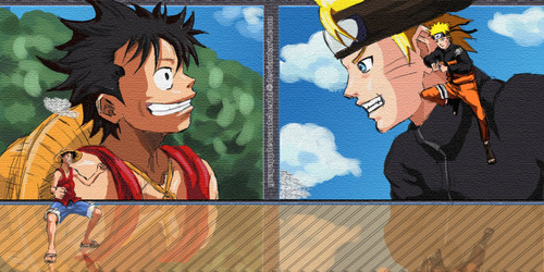 anime debat wallpaper containing anime called Luffy vs naruto