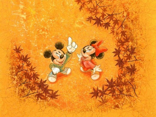 Disney wallpaper probably with a chicory, a sunflower, and a japanese apricot entitled Mickey autumn