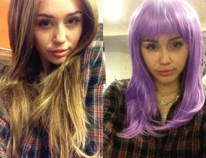 Miley wearing wig (Halloween 2013 pics)