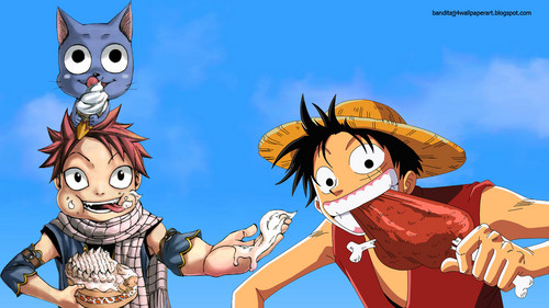 anime debat wallpaper possibly with anime entitled Natsu and Luffy