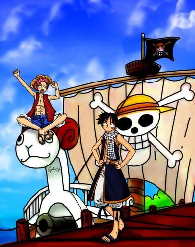 anime debat wallpaper entitled Natsu and Luffy