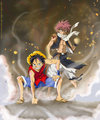 Natsu and Luffy - anime-debate fan art