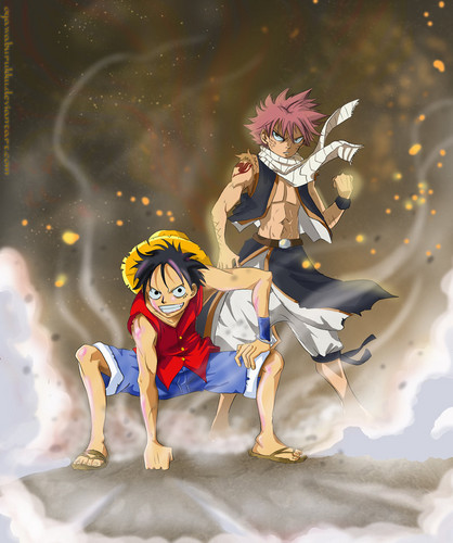 anime Debate achtergrond probably containing anime entitled Natsu and Luffy