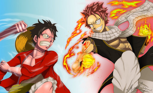 anime debat wallpaper with anime titled Natsu and Luffy