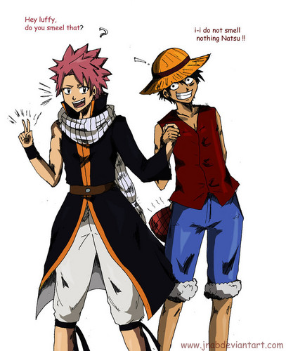 anime debat wallpaper with anime called Natsu and Luffy