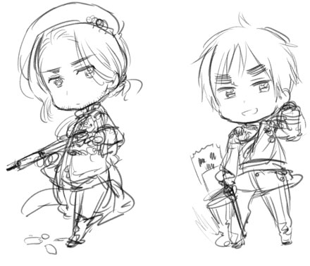 Hetalia kertas dinding titled Official P2- France and England