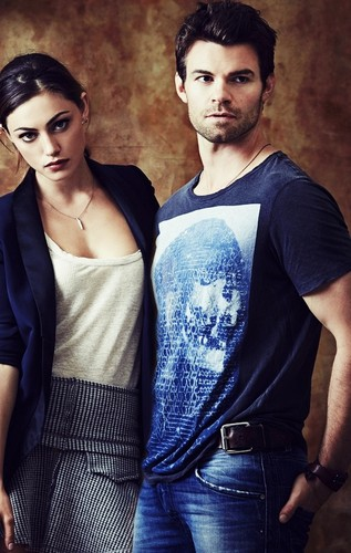 Elijah & Hayley پیپر وال probably containing a top, a کاک, کاکٹیل dress, and a sundress کے, سوندریسس titled Phoebe Tonkin & Daniel Gillies » SDCC shoot