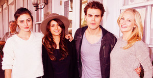 Phoebe Tonkin, Nina Dobrev, Paul Wesley & Candice Accola in Savannah, Georgia