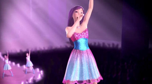 Barbie the Princess and the popstar wallpaper probably containing a dinner dress, a bridesmaid, and a cocktail dress titled Prologue - Here I am / Princesses Just Want to Have Fun
