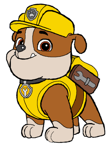 PAW Patrol karatasi la kupamba ukuta containing anime titled Rubble - Construction Pup