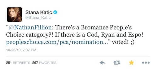 Stana's twitter-Octuber,2013 - nathan-fillion-and-stana-katic Photo