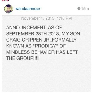 This is not a joke. Prod is no longer apart of Mindless Behavior