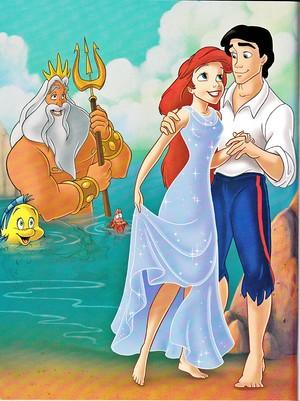 Walt disney Book gambar - Flounder, King Triton, Sebastian, Princess Ariel & Prince Eric