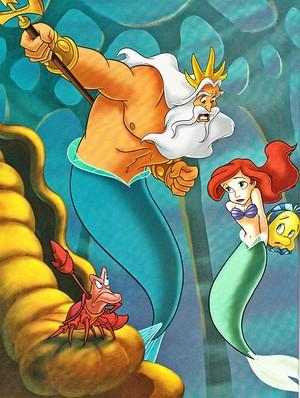 Walt Disney Book images - King Triton, Sebastian, Princess Ariel & patauger, plie grise