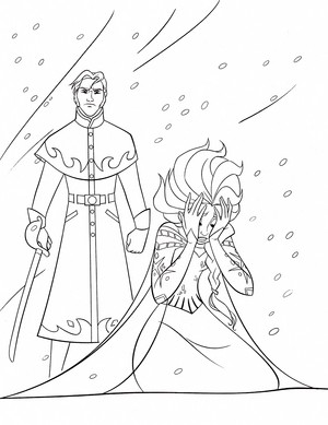 Walt ディズニー Coloring Pages - Prince Hans Westerguard & クイーン Elsa
