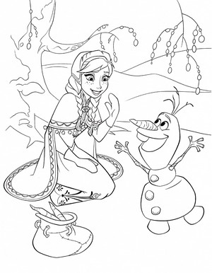 Walt 迪士尼 Coloring Pages - Princess Anna & Olaf