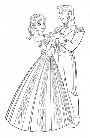 Walt ディズニー Coloring Pages - Princess Anna & Prince Hans Westerguard