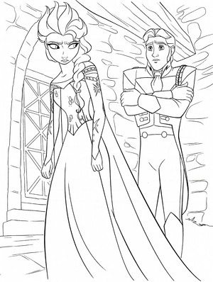 Walt ডিজনি Coloring Pages - কুইন Elsa & Prince Hans Westerguard