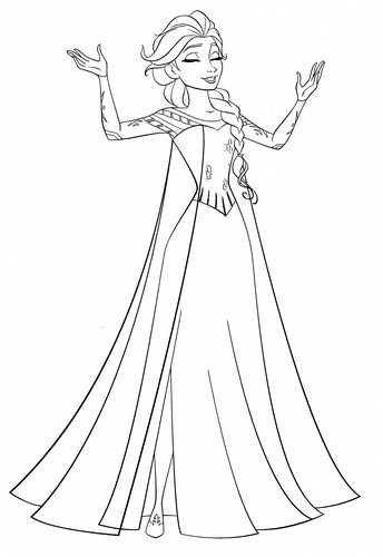 Walt Disney Characters wallpaper titled Walt Disney Coloring Pages - Queen Elsa