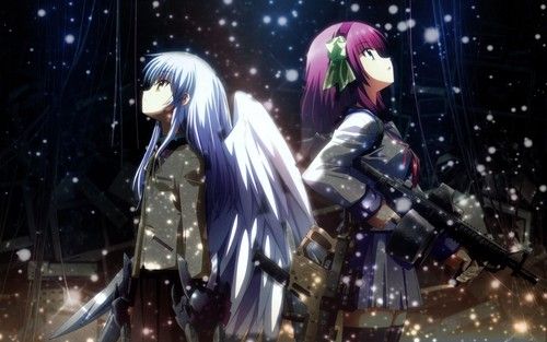 Anime wallpaper with a breastplate, an armor plate, and a brigandine entitled Yuri and Kanade [Angel Beats!]