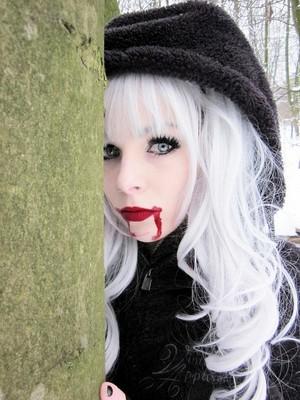 ira, vampira, emo, girl, scene, queen, pastel goth, white hair, blonde, vampire, doll, blue hair