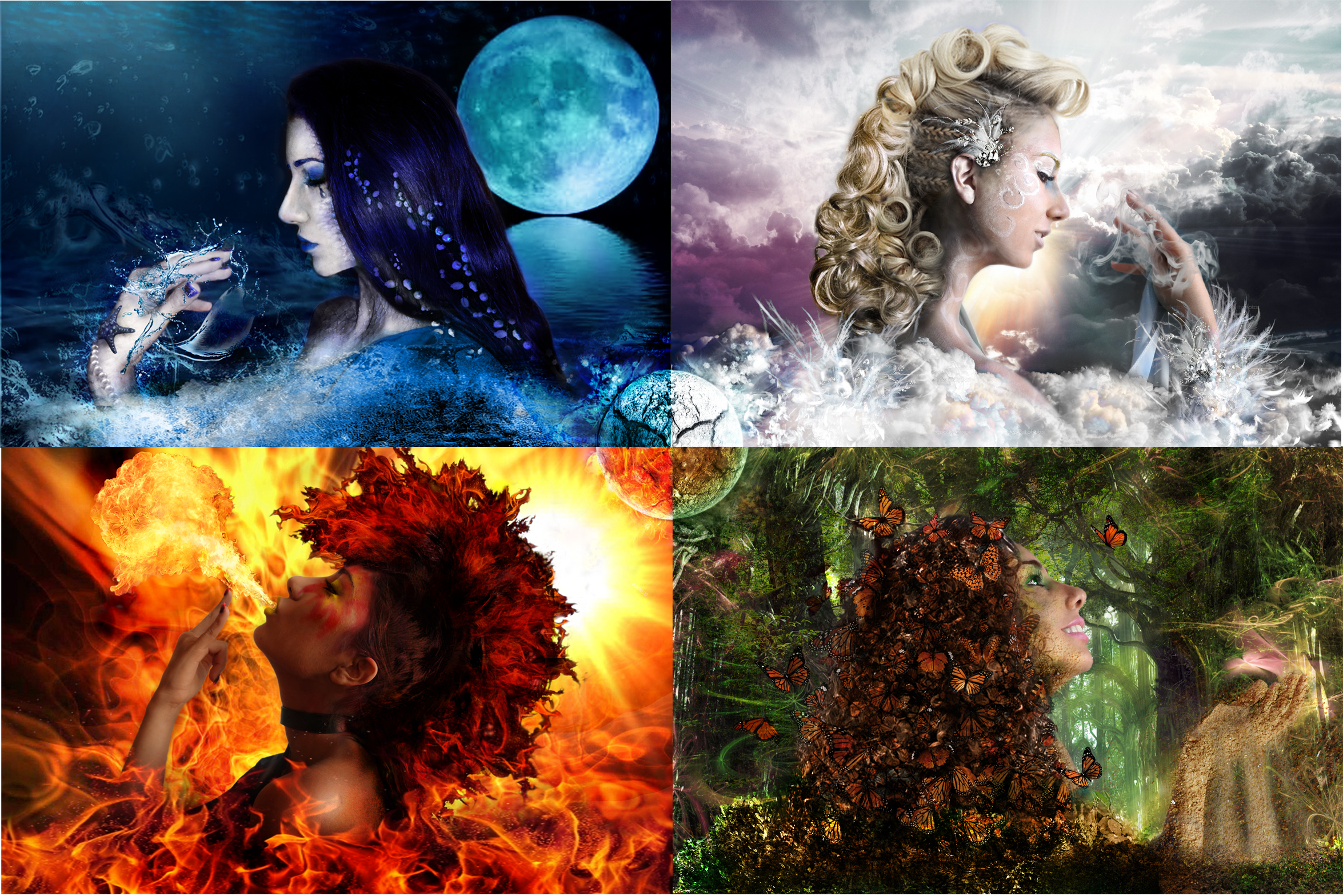 Four Elements Art : The four elements images water air fire earth hd