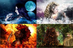 water, air, fire, earth