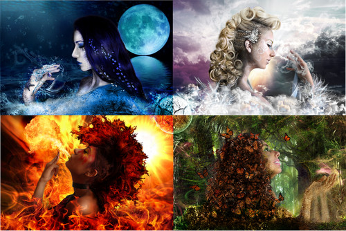 The Four Elements 壁紙 titled water, air, fire, earth