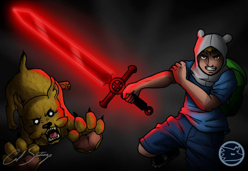 Adventure Time With Finn and Jake wolpeyper with anime called Finn, Jake, And the legit Demon Blood Sword...