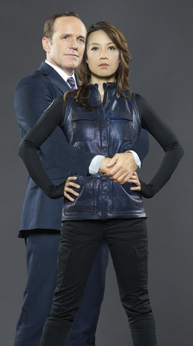 Phil Coulson & Melinda May wallpaper with long trousers, a pantleg, and an outerwear called Clark Gregg & Ming-Na Wen (Phil Coulson & Melinda May) - Agents of S.H.I.E.L.D.