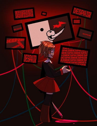 Dangan Ronpa वॉलपेपर possibly with a sign called Mastermind AU Chihiro