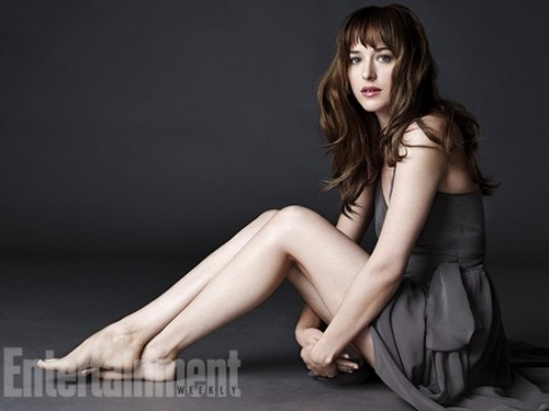 Fifty Shades of Grey wallpaper probably containing a leotard, tights, and a bustier titled Dakota Johnson's first character photo as Ana Steele from Entertainment Weekly