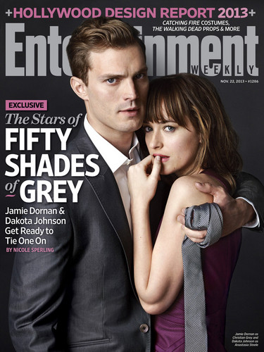Fifty Shades of Grey wallpaper possibly with a business suit and anime titled Jamie Dornan&Dakota Johnson Entertainment Weekly Cover