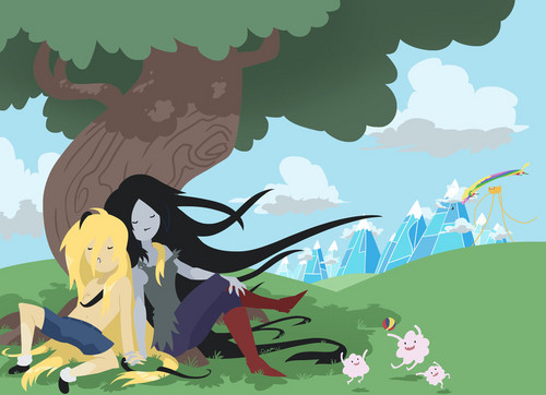 Adventure Time With Finn and Jake wallpaper probably with a sign and anime called Finceline (Finn X Marceline)
