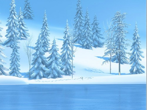 Frozen Hintergrund with a ponderosa, a douglas fir, and a ski resort entitled Frozen digital painter backgrounds