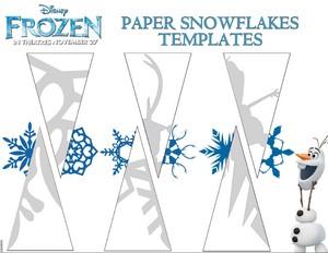 Frozen paper snowflakes templates