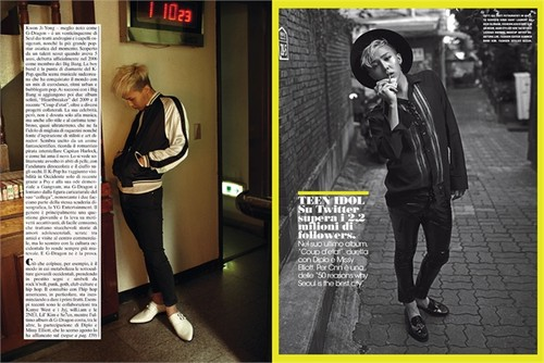 G-Dragon Обои probably containing a business suit, a sign, and a улица, уличный called G Dragon L'Uomo Vogue, November 2013