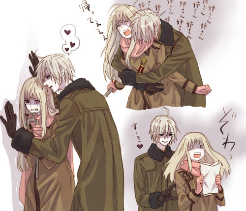Hetalia Couples! karatasi la kupamba ukuta probably with a kofia called Male Belarus x Fem Russia