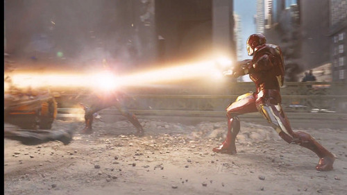 Iron Man wallpaper possibly containing a street, a fire, and a fountain titled Iron Man in The Avengers