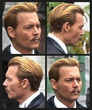 Johnny on the set of Mortdecai