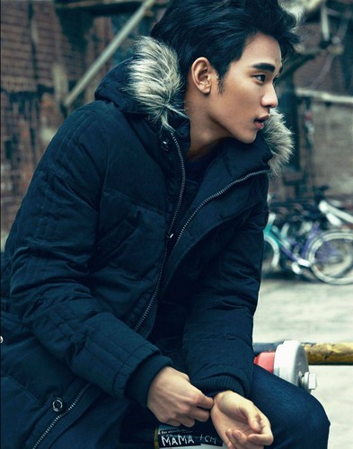 Kim SooHyun wallpaper probably containing a business suit, a well dressed person, and a jalan, street entitled Kim Soo Hyun for Calvin Klein Jeans