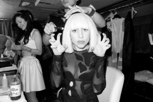 Lady Gaga in her dressing room
