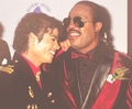 Michael And Stevie Wonder Backstage At The 1986 Grammy Awards - michael-jackson photo