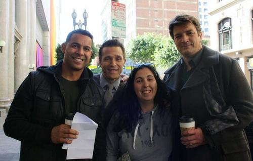 Nathan Fillion & Stana Katic fond d'écran with a rue called Nathan,Seamus&Jon-BTS season 6