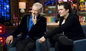 Orlando Bloom and Ian McKellen at Watch What Happens Live