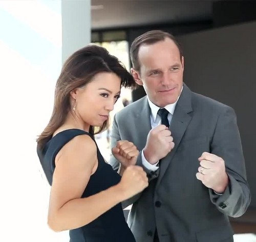 Phil Coulson & Melinda May wallpaper containing a business suit and a suit titled Clark Gregg & Ming-Na Wen (Phil Coulson & Melinda May) - Agents of S.H.I.E.L.D.