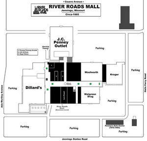 River Roads Mall map - (1985)